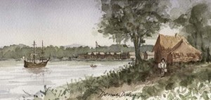 Watercolor of Fort Orange by artist Denise Dahn