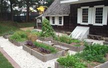 Photo of the kitchen garden and medicinal herb garden on the south side of the house