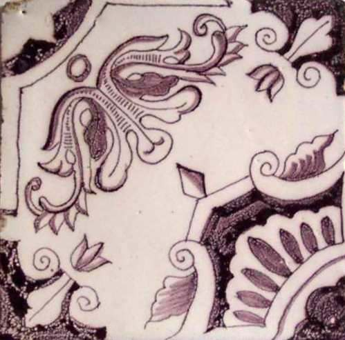 Image of mauve and white tile from the museum's formal parlor, c. 1750