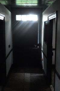 View down the center hallway of the Wyckoff House toward the south-facing Dutch Door