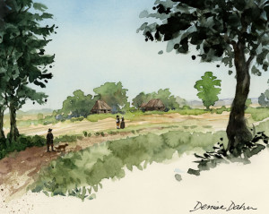 Watercolor sketch of the Wyckoff farm, as it may have appeared in the 17th century by artist Denise Dahn