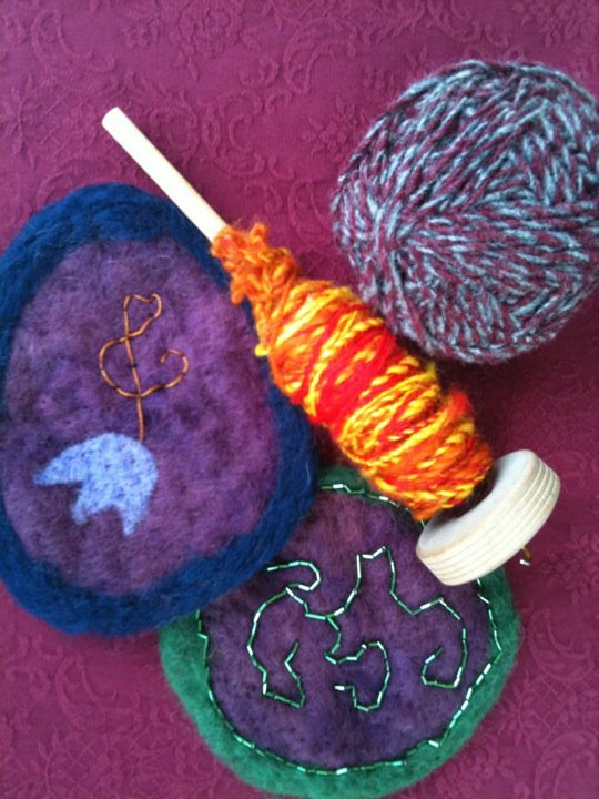 Hand-felted and spun wool